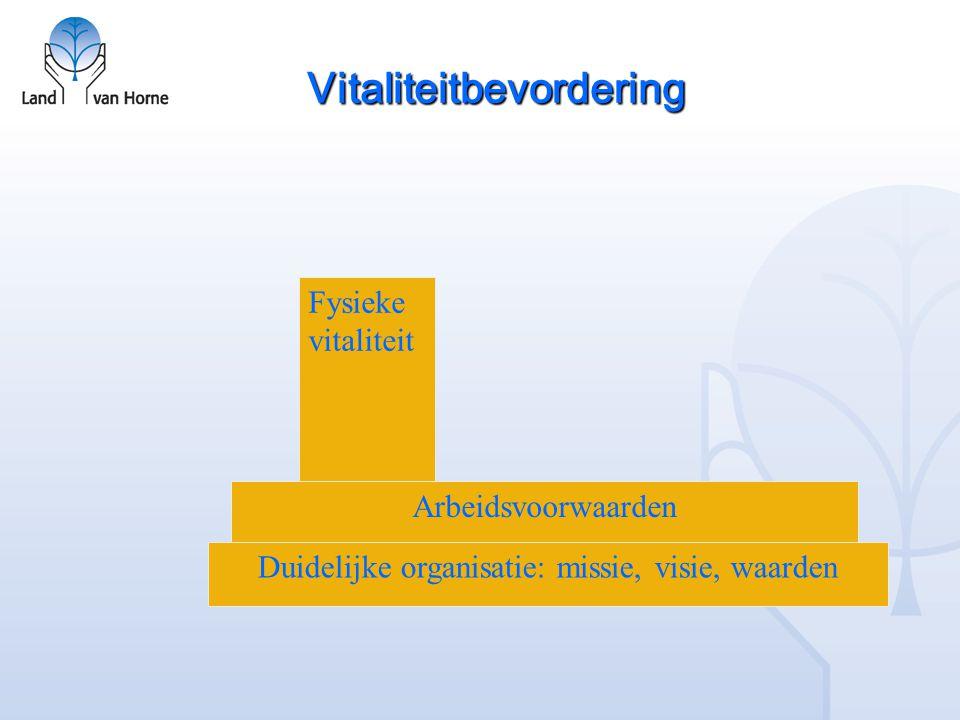 Vitaliteitbevordering Duidelijke organisatie: missie, visie, waarden Arbeidsvoorwaarden Fysieke vitaliteit