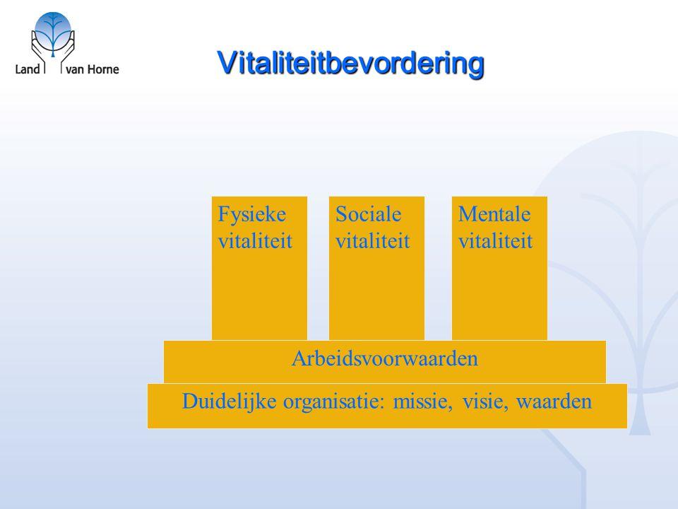 Vitaliteitbevordering Duidelijke organisatie: missie, visie, waarden Arbeidsvoorwaarden Fysieke vitaliteit Sociale vitaliteit Mentale vitaliteit
