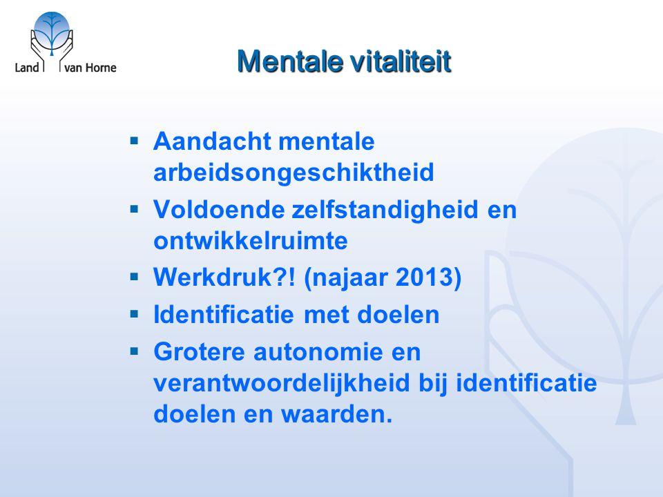 Mentale vitaliteit  Aandacht mentale arbeidsongeschiktheid  Voldoende zelfstandigheid en ontwikkelruimte  Werkdruk?! (najaar 2013)  Identificatie