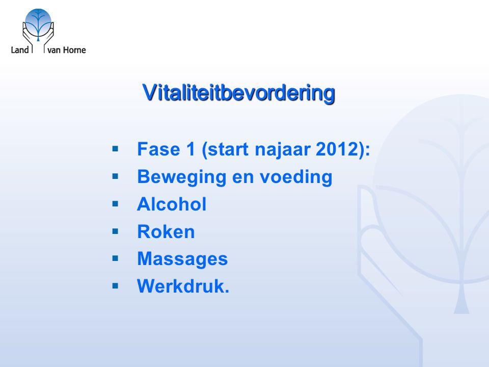Vitaliteitbevordering  Fase 1 (start najaar 2012):  Beweging en voeding  Alcohol  Roken  Massages  Werkdruk.