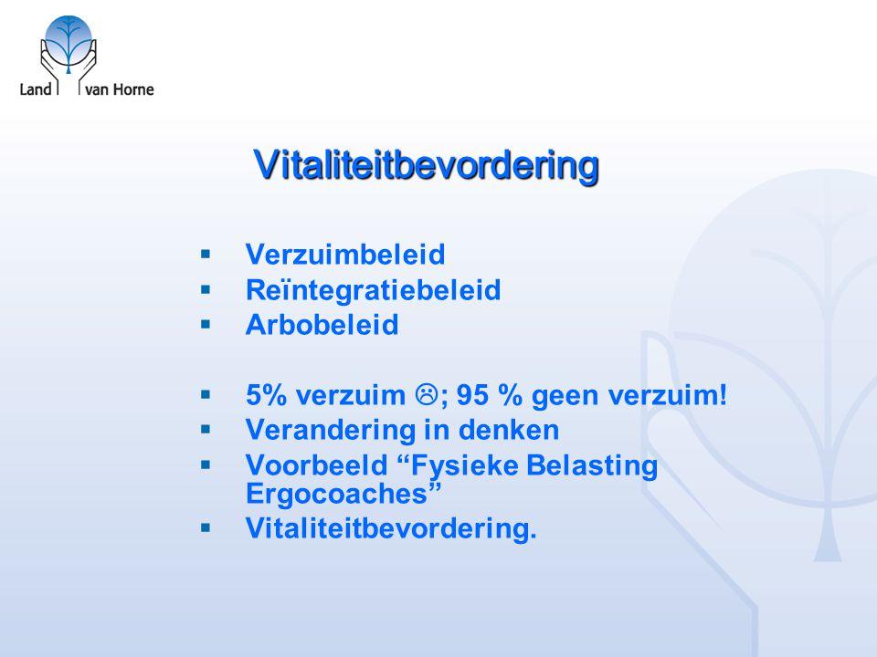 Vitaliteitbevordering  Verzuimbeleid  Reïntegratiebeleid  Arbobeleid  5% verzuim  ; 95 % geen verzuim.