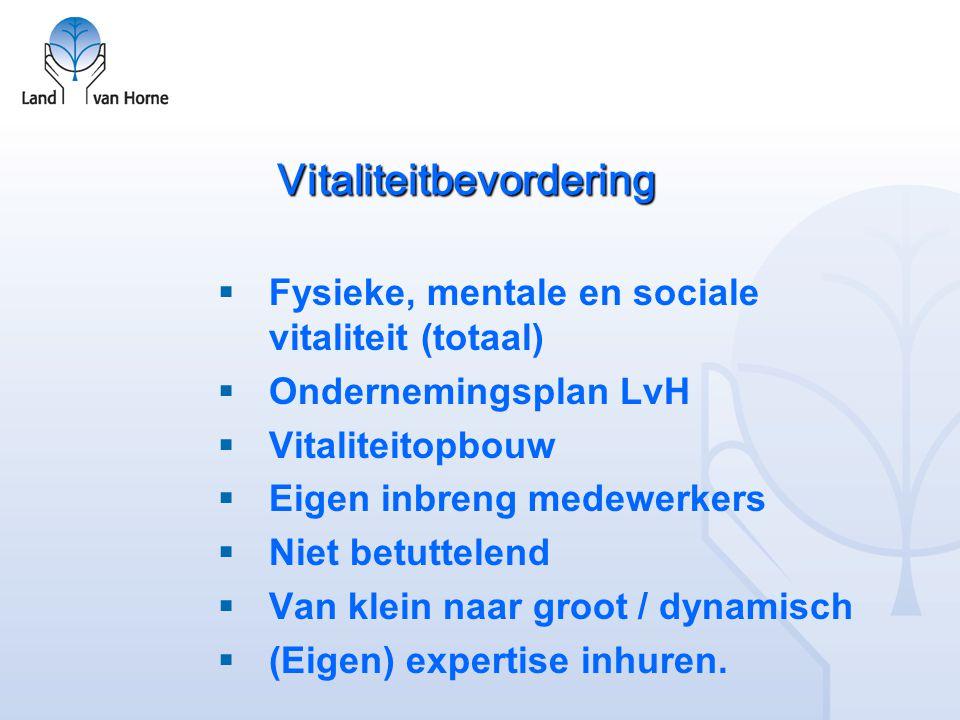 Vitaliteitbevordering  Fysieke, mentale en sociale vitaliteit (totaal)  Ondernemingsplan LvH  Vitaliteitopbouw  Eigen inbreng medewerkers  Niet b