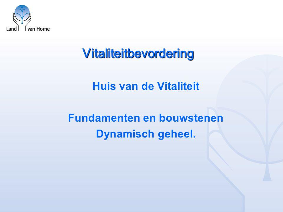 Vitaliteitbevordering Duidelijke organisatie: missie, waarden, visie