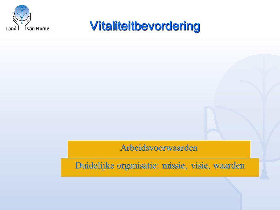 Vitaliteitbevordering Duidelijke organisatie: missie, visie, waarden Arbeidsvoorwaarden