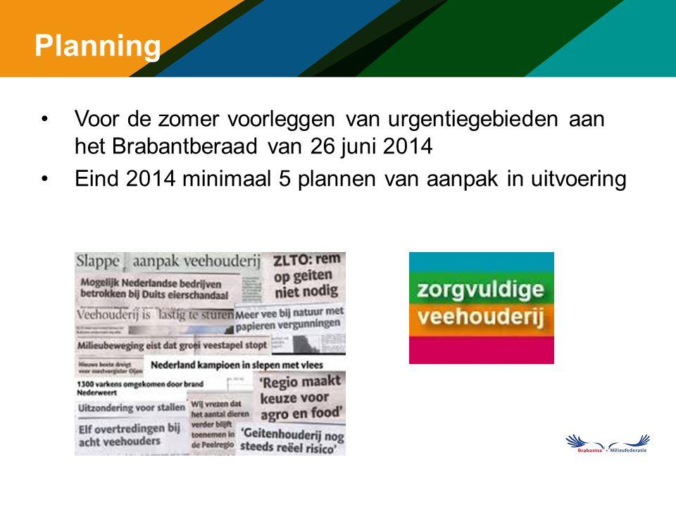 Planning Voor de zomer voorleggen van urgentiegebieden aan het Brabantberaad van 26 juni 2014 Eind 2014 minimaal 5 plannen van aanpak in uitvoering m