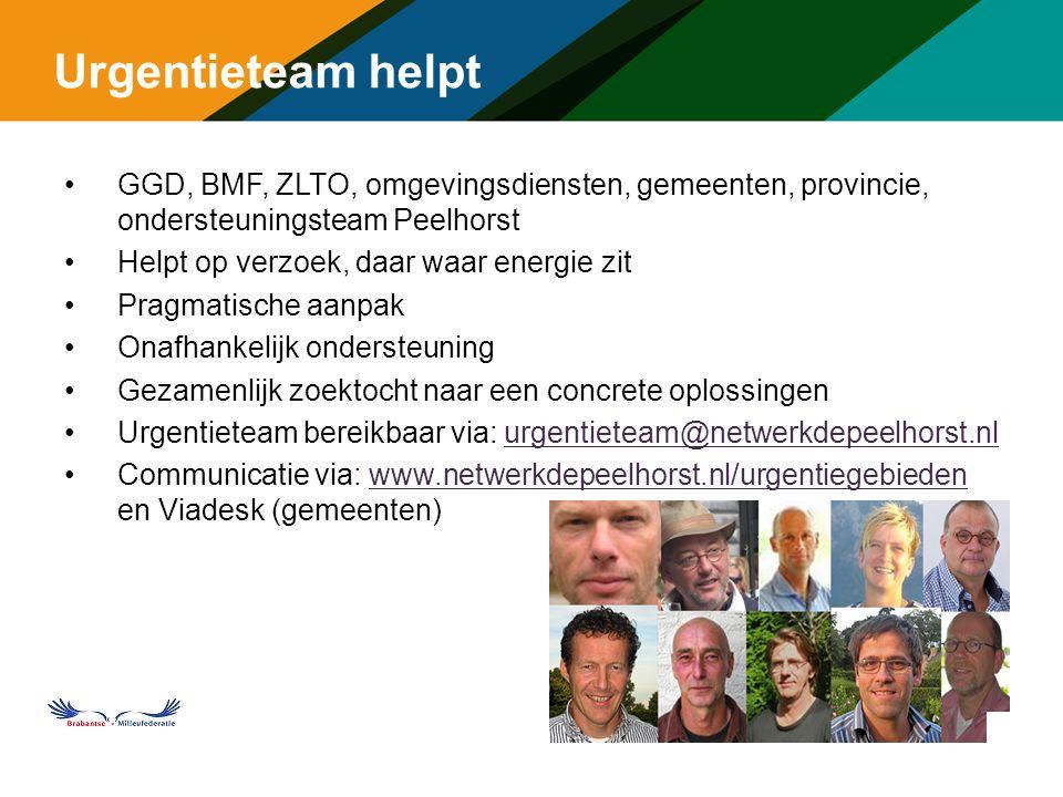 Urgentieteam helpt GGD, BMF, ZLTO, omgevingsdiensten, gemeenten, provincie, ondersteuningsteam Peelhorst Helpt op verzoek, daar waar energie zit Pragmatische aanpak Onafhankelijk ondersteuning Gezamenlijk zoektocht naar een concrete oplossingen Urgentieteam bereikbaar via: urgentieteam@netwerkdepeelhorst.nlurgentieteam@netwerkdepeelhorst.nl Communicatie via: www.netwerkdepeelhorst.nl/urgentiegebieden en Viadesk (gemeenten)www.netwerkdepeelhorst.nl/urgentiegebieden m