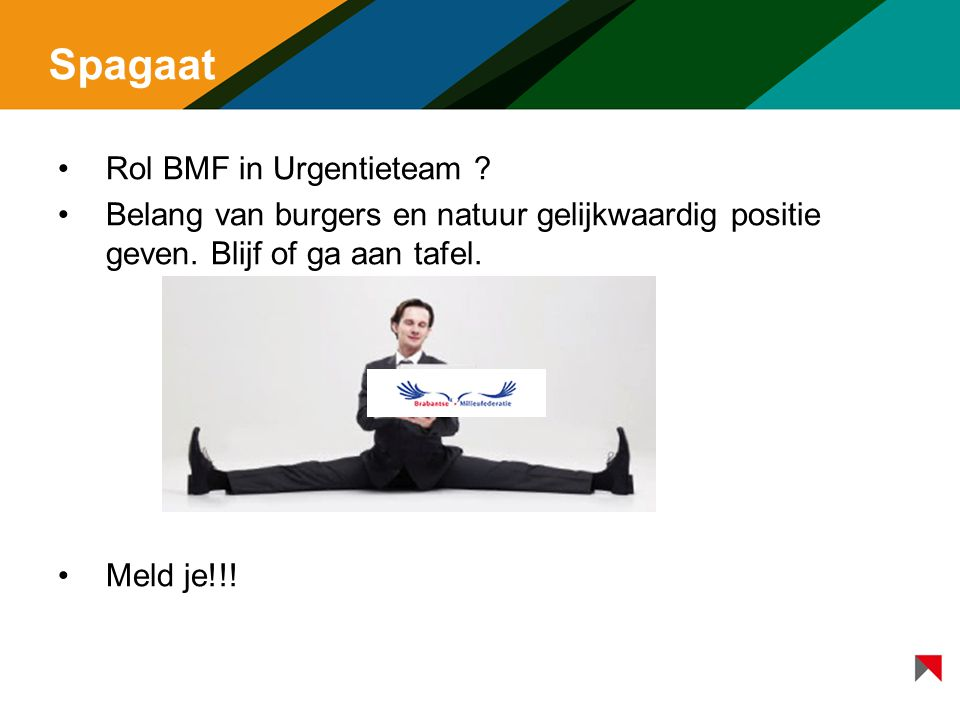 Spagaat Rol BMF in Urgentieteam .Belang van burgers en natuur gelijkwaardig positie geven.