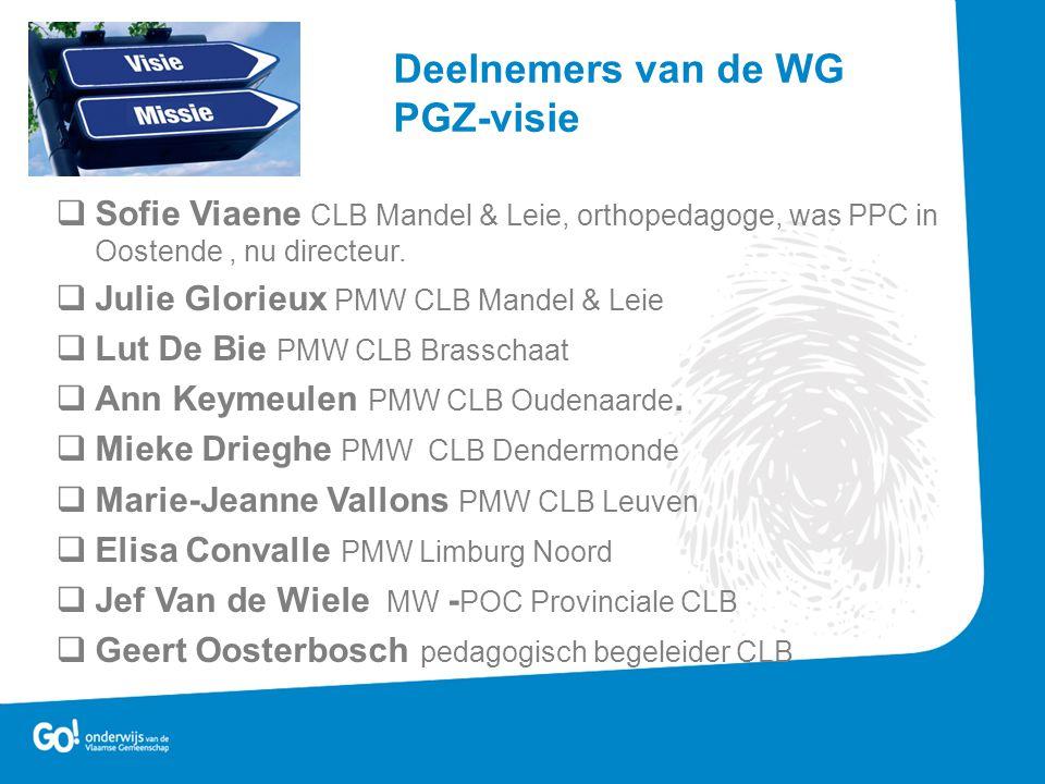  Sofie Viaene CLB Mandel & Leie, orthopedagoge, was PPC in Oostende, nu directeur.  Julie Glorieux PMW CLB Mandel & Leie  Lut De Bie PMW CLB Brassc
