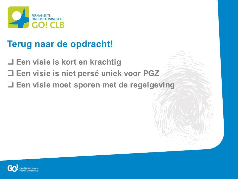  Een visie is kort en krachtig  Een visie is niet persé uniek voor PGZ  Een visie moet sporen met de regelgeving Terug naar de opdracht!