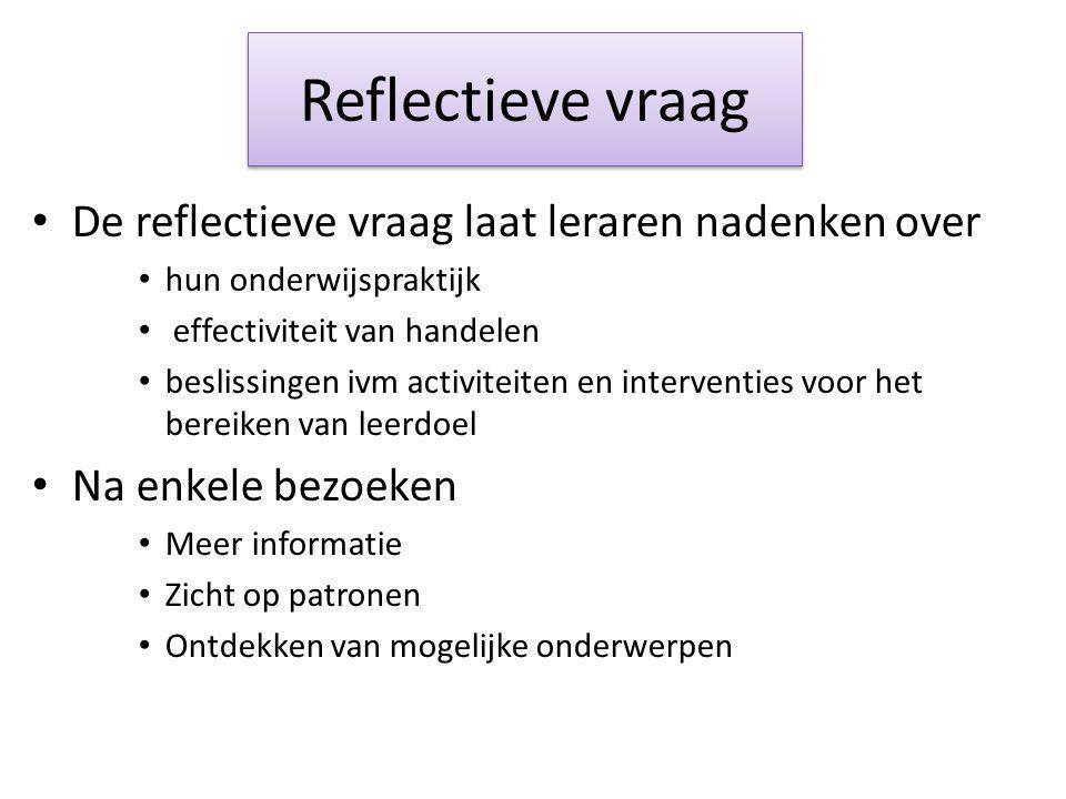 Reflectieve vraag De reflectieve vraag laat leraren nadenken over hun onderwijspraktijk effectiviteit van handelen beslissingen ivm activiteiten en in