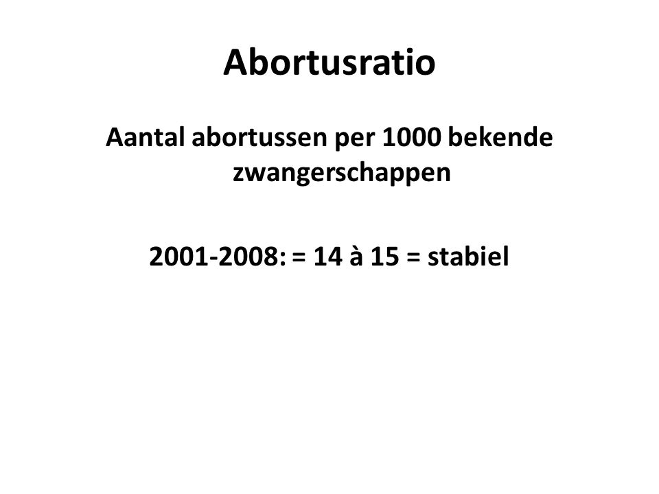 Centra – ziekenhuizen 2011 België: Centra 81% - ziekenhuizen 19% Nederlandstalig: (Centra 96% - ziekenhuizen 4%): 8.016 7 centra: 7.662 11 ziekenhuizen: 354 Franstalig: (Centra 73% - ziekenhuizen 27%): 12.678 29 centra: 9.279 26 ziekenhuizen: 3.399
