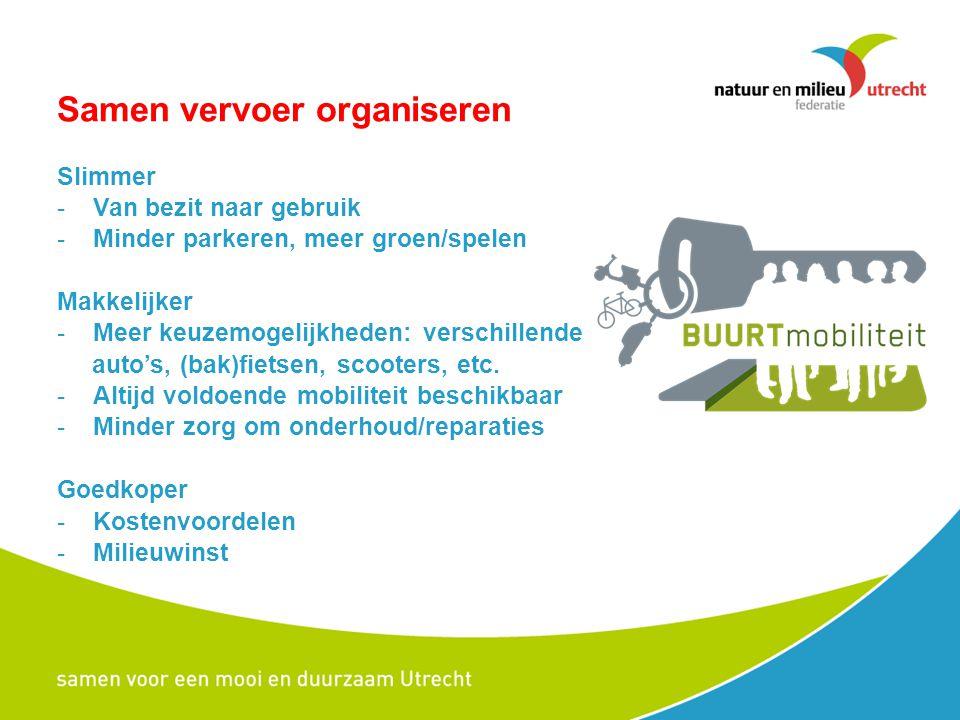 Samen vervoer organiseren Slimmer -Van bezit naar gebruik -Minder parkeren, meer groen/spelen Makkelijker -Meer keuzemogelijkheden: verschillende auto's, (bak)fietsen, scooters, etc.