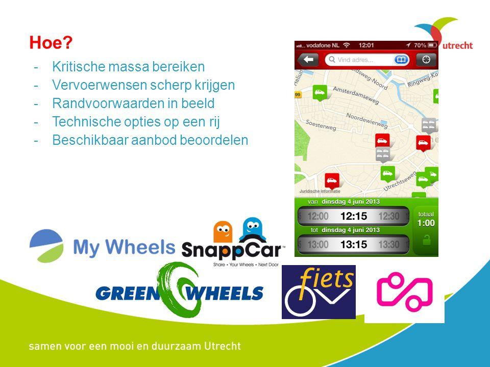 Hoe? -Kritische massa bereiken -Vervoerwensen scherp krijgen -Randvoorwaarden in beeld -Technische opties op een rij -Beschikbaar aanbod beoordelen