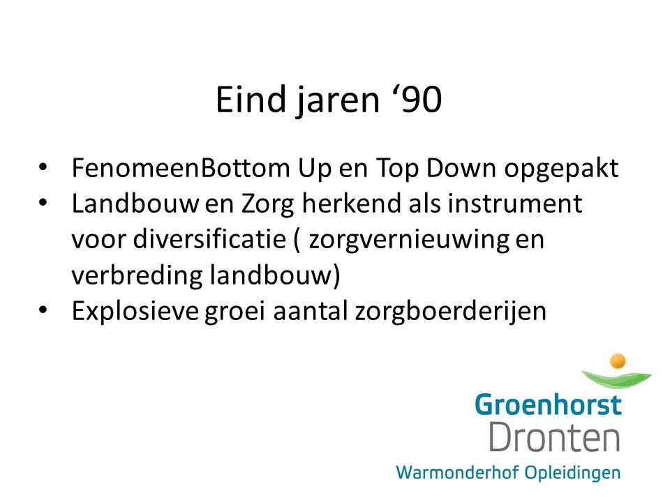 Eind jaren '90 FenomeenBottom Up en Top Down opgepakt Landbouw en Zorg herkend als instrument voor diversificatie ( zorgvernieuwing en verbreding landbouw) Explosieve groei aantal zorgboerderijen