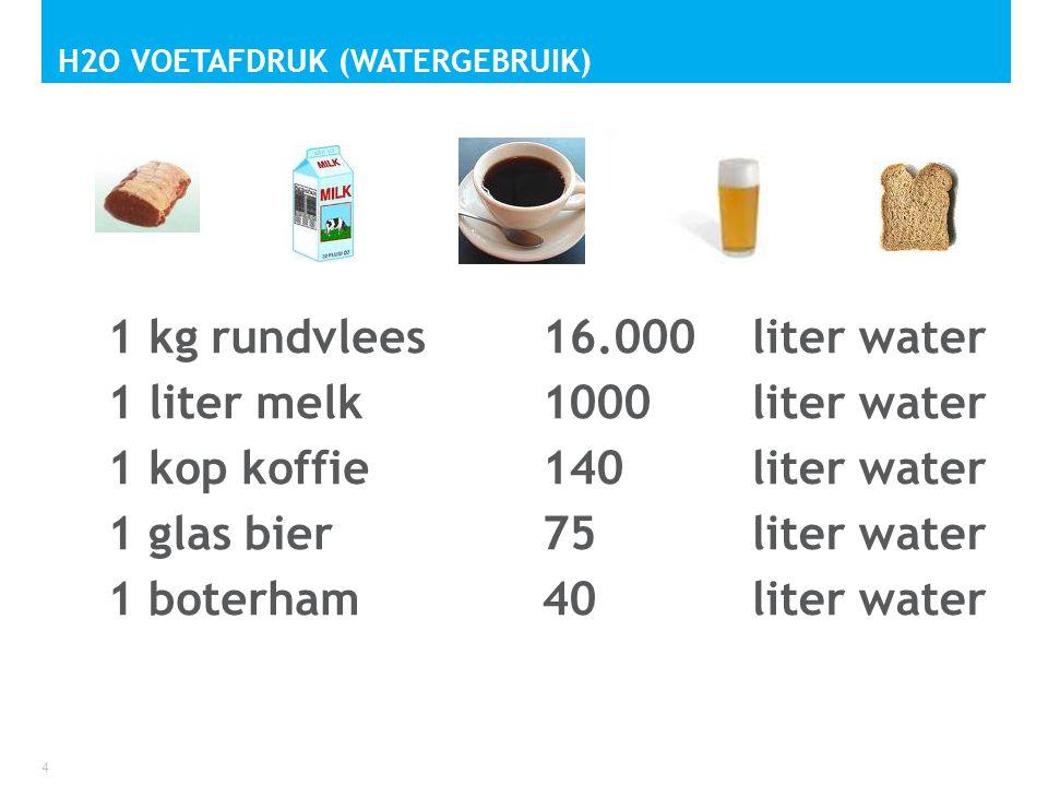 1 kg rundvlees 1 liter melk 1 kop koffie 1 glas bier 1 boterham 4 H2O VOETAFDRUK (WATERGEBRUIK) 16.000liter water 1000 liter water 140 liter water 75