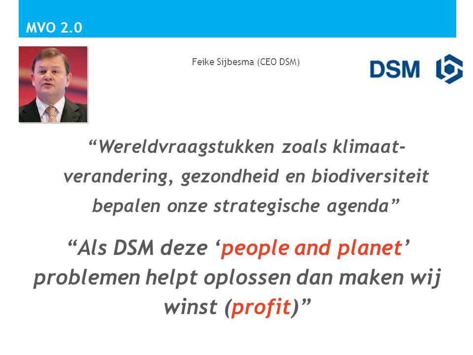 """""""Wereldvraagstukken zoals klimaat- verandering, gezondheid en biodiversiteit bepalen onze strategische agenda"""" Feike Sijbesma (CEO DSM) MVO 2.0 """"Als D"""