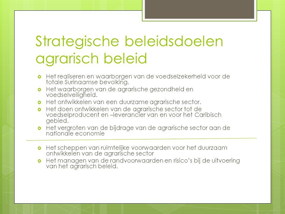 Strategische beleidsdoelen agrarisch beleid  Het realiseren en waarborgen van de voedselzekerheid voor de totale Surinaamse bevolking.