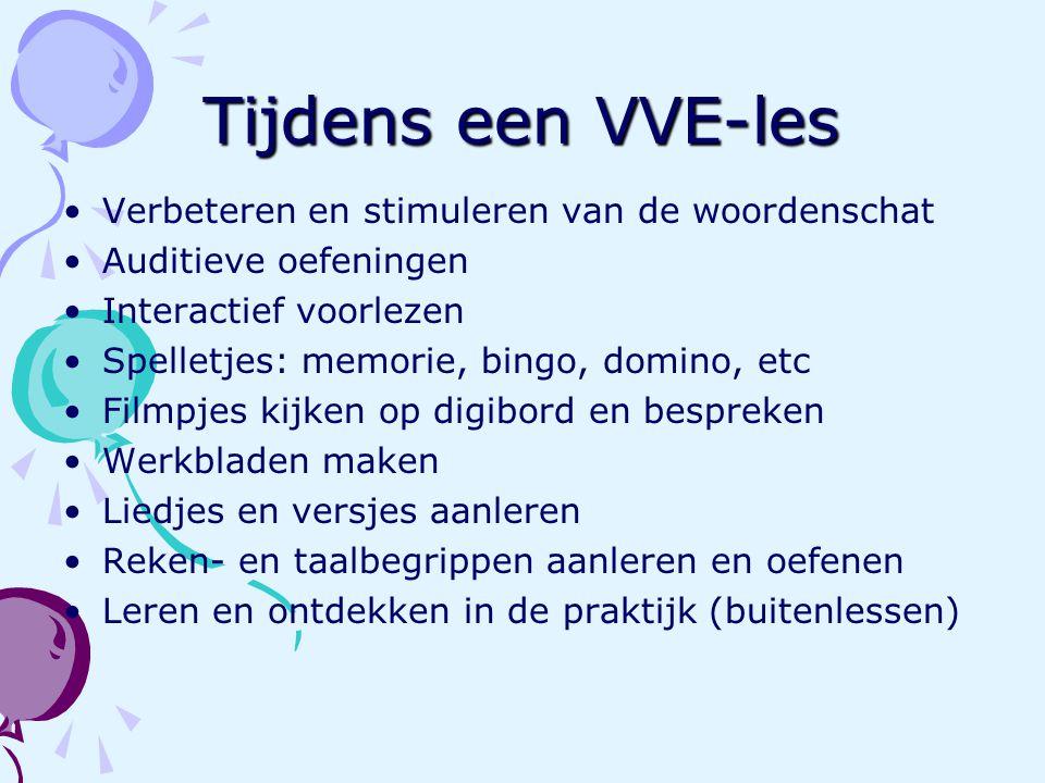Tijdens een VVE-les Verbeteren en stimuleren van de woordenschat Auditieve oefeningen Interactief voorlezen Spelletjes: memorie, bingo, domino, etc Fi