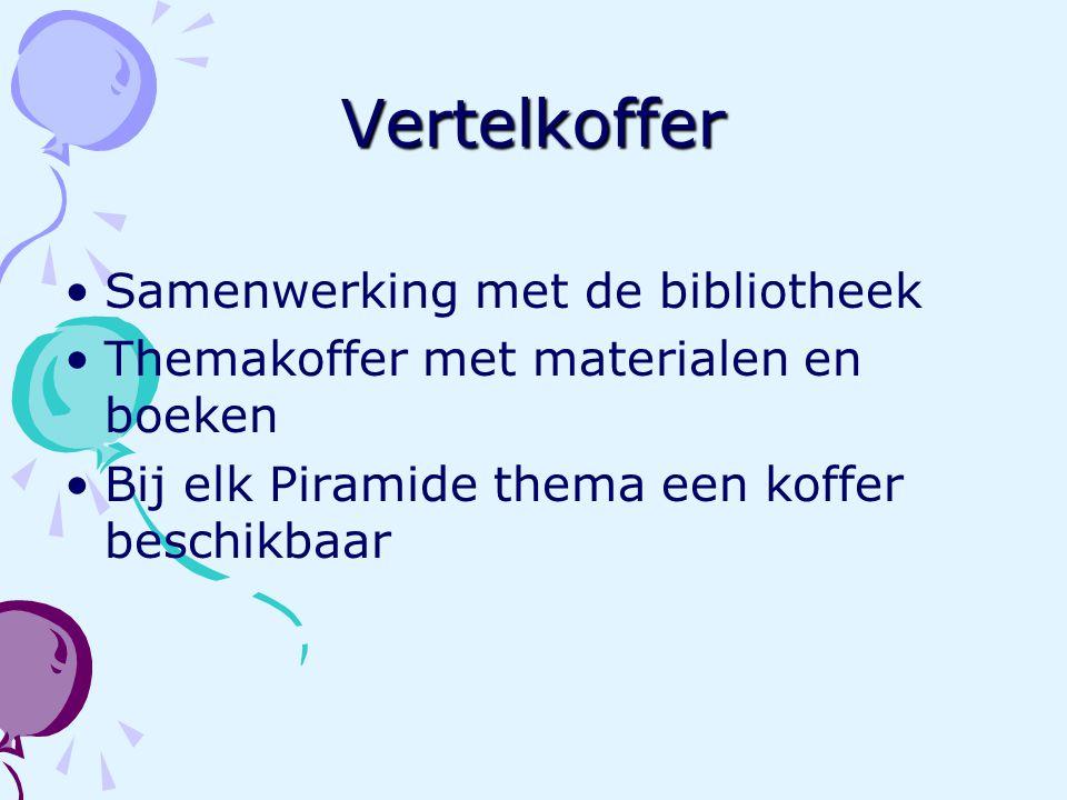 Vertelkoffer Samenwerking met de bibliotheek Themakoffer met materialen en boeken Bij elk Piramide thema een koffer beschikbaar