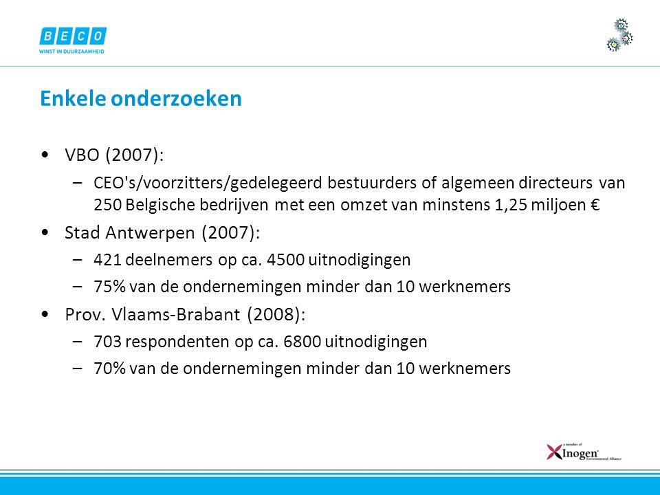 Enkele onderzoeken VBO (2007): –CEO s/voorzitters/gedelegeerd bestuurders of algemeen directeurs van 250 Belgische bedrijven met een omzet van minstens 1,25 miljoen € Stad Antwerpen (2007): –421 deelnemers op ca.