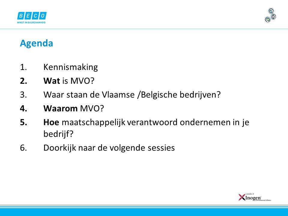 Agenda 1.Kennismaking 2.Wat is MVO. 3.Waar staan de Vlaamse /Belgische bedrijven.