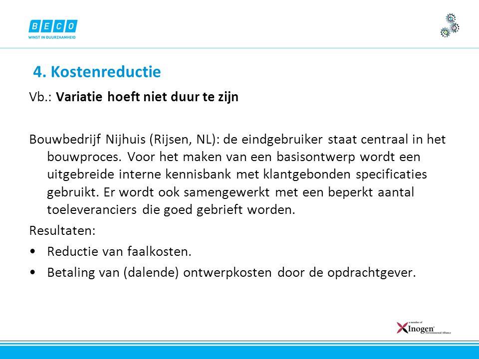 4. Kostenreductie Vb.: Variatie hoeft niet duur te zijn Bouwbedrijf Nijhuis (Rijsen, NL): de eindgebruiker staat centraal in het bouwproces. Voor het