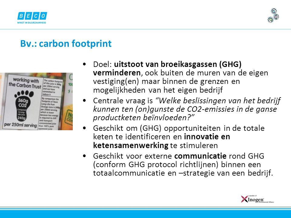 Bv.: carbon footprint Doel: uitstoot van broeikasgassen (GHG) verminderen, ook buiten de muren van de eigen vestiging(en) maar binnen de grenzen en mogelijkheden van het eigen bedrijf Centrale vraag is Welke beslissingen van het bedrijf kunnen ten (on)gunste de CO2-emissies in de ganse productketen beïnvloeden Geschikt om (GHG) opportuniteiten in de totale keten te identificeren en innovatie en ketensamenwerking te stimuleren Geschikt voor externe communicatie rond GHG (conform GHG protocol richtlijnen) binnen een totaalcommunicatie en –strategie van een bedrijf.