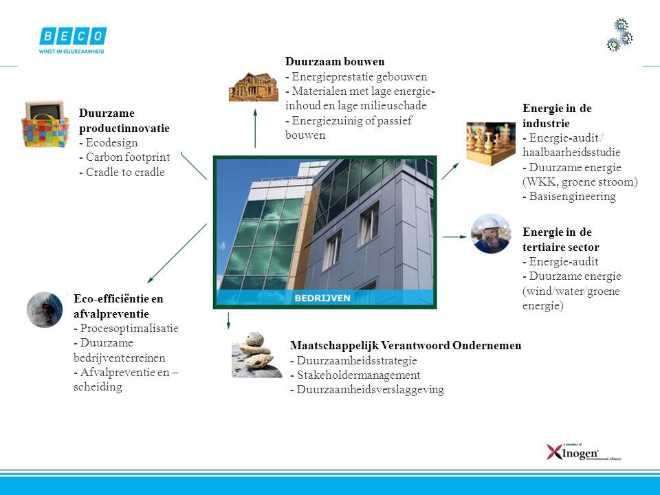 Duurzame productinnovatie - Ecodesign - Carbon footprint - Cradle to cradle Duurzaam bouwen - Energieprestatie gebouwen - Materialen met lage energie- inhoud en lage milieuschade - Energiezuinig of passief bouwen Energie in de industrie - Energie-audit / haalbaarheidsstudie - Duurzame energie (WKK, groene stroom) - Basisengineering Energie in de tertiaire sector - Energie-audit - Duurzame energie (wind/water/groene energie) Maatschappelijk Verantwoord Ondernemen - Duurzaamheidsstrategie - Stakeholdermanagement - Duurzaamheidsverslaggeving Eco-efficiëntie en afvalpreventie - Procesoptimalisatie - Duurzame bedrijventerreinen - Afvalpreventie en – scheiding
