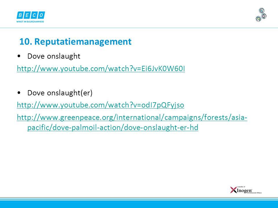 10. Reputatiemanagement Dove onslaught http://www.youtube.com/watch?v=Ei6JvK0W60I Dove onslaught(er) http://www.youtube.com/watch?v=odI7pQFyjso http:/