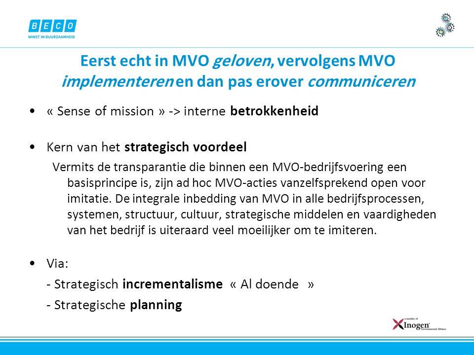 Eerst echt in MVO geloven, vervolgens MVO implementeren en dan pas erover communiceren « Sense of mission » -> interne betrokkenheid Kern van het strategisch voordeel Vermits de transparantie die binnen een MVO-bedrijfsvoering een basisprincipe is, zijn ad hoc MVO-acties vanzelfsprekend open voor imitatie.