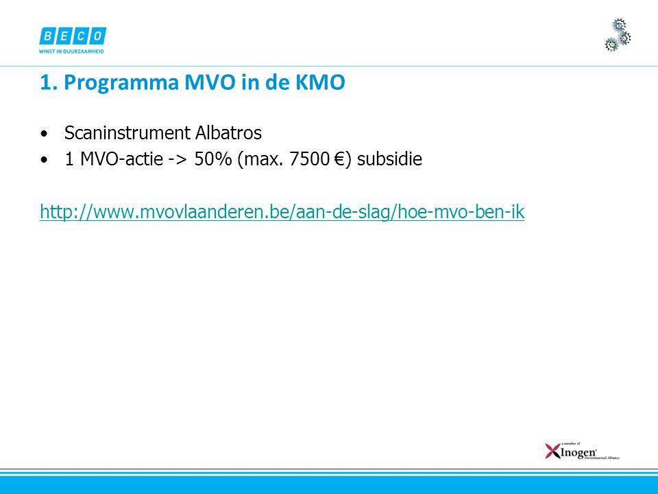 1. Programma MVO in de KMO Scaninstrument Albatros 1 MVO-actie -> 50% (max.