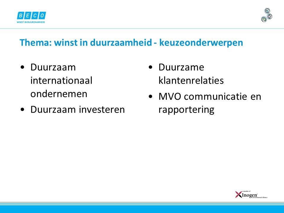 Thema: winst in duurzaamheid - keuzeonderwerpen Duurzaam internationaal ondernemen Duurzaam investeren Duurzame klantenrelaties MVO communicatie en rapportering