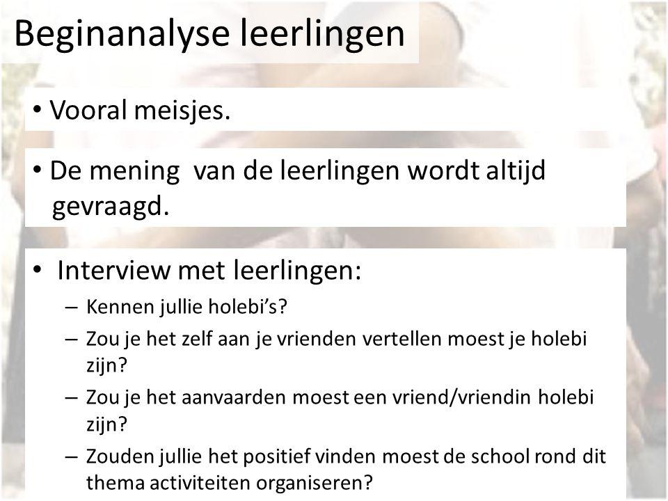 Beginanalyse leerlingen Interview met leerlingen: – Kennen jullie holebi's? – Zou je het zelf aan je vrienden vertellen moest je holebi zijn? – Zou je