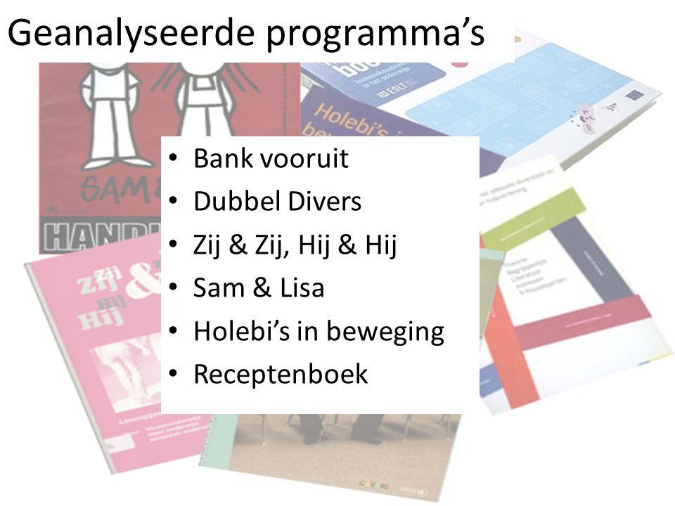 Geanalyseerde programma's Bank vooruit Dubbel Divers Zij & Zij, Hij & Hij Sam & Lisa Holebi's in beweging Receptenboek
