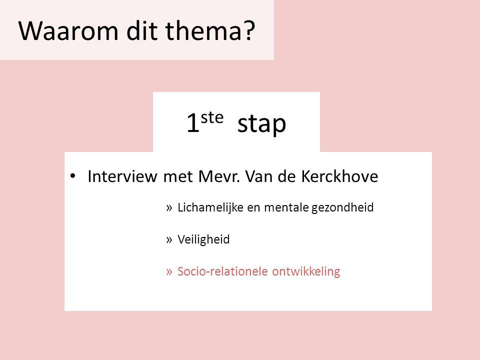 1 ste stap Interview met Mevr. Van de Kerckhove » Lichamelijke en mentale gezondheid » Veiligheid » Socio-relationele ontwikkeling Waarom dit thema?