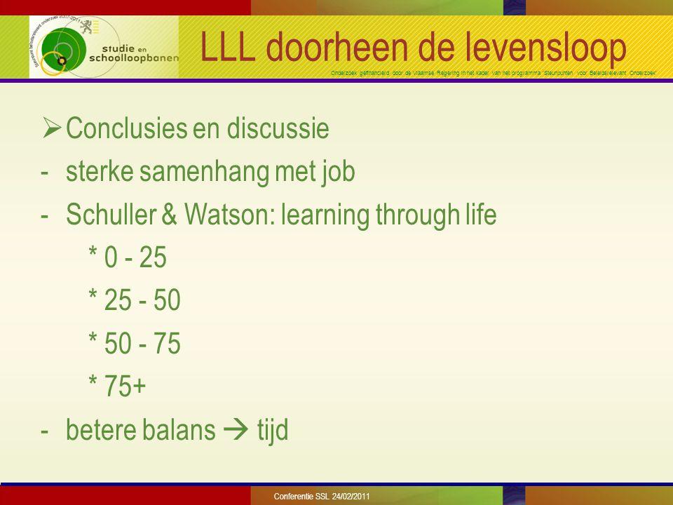 Onderzoek gefinancierd door de Vlaamse Regering in het kader van het programma 'Steunpunten voor Beleidsrelevant Onderzoek' LLL doorheen de levensloop  Conclusies en discussie -sterke samenhang met job -Schuller & Watson: learning through life * 0 - 25 * 25 - 50 * 50 - 75 * 75+ -betere balans  tijd Conferentie SSL 24/02/2011