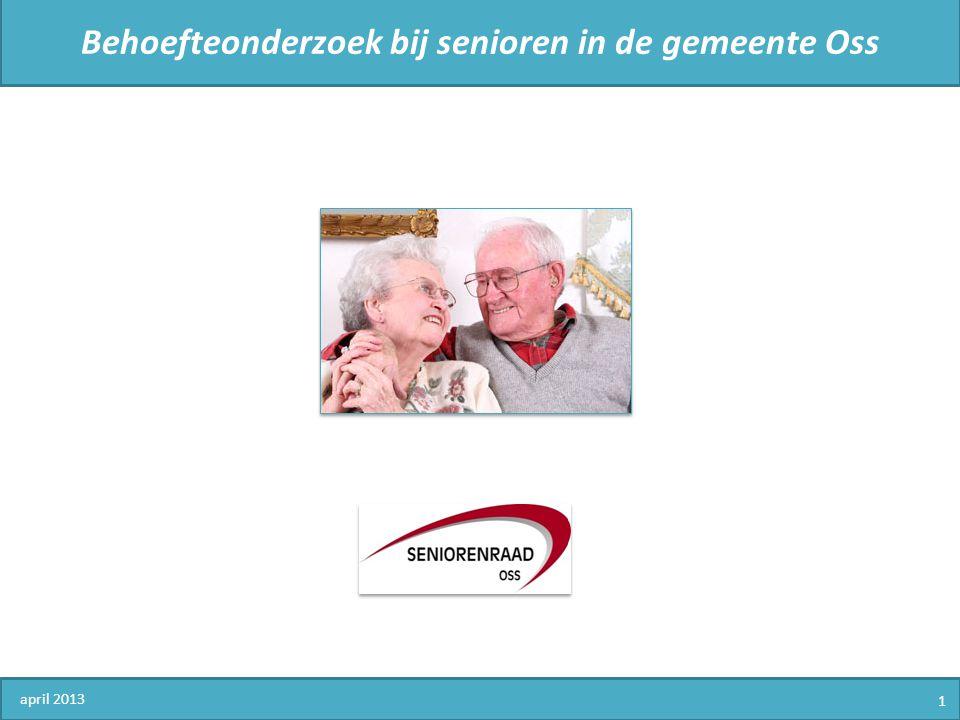 Behoefteonderzoek bij senioren in de gemeente Oss 1.Demografische en persoonsgegevens 2.Huisvesting 3.Contacten en beoordeling wijk of buurt 4.Mobiliteit en veiligheid 5.Persoonlijke contacten en welbevinden 6.Maatschappelijke participatie 7.Senioren en de Seniorenraad 8.Vervolg april 2013 12