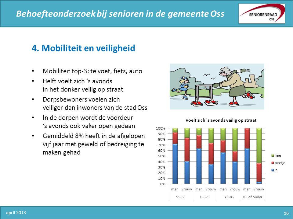 Behoefteonderzoek bij senioren in de gemeente Oss 4. Mobiliteit en veiligheid Mobiliteit top-3: te voet, fiets, auto Helft voelt zich 's avonds in het