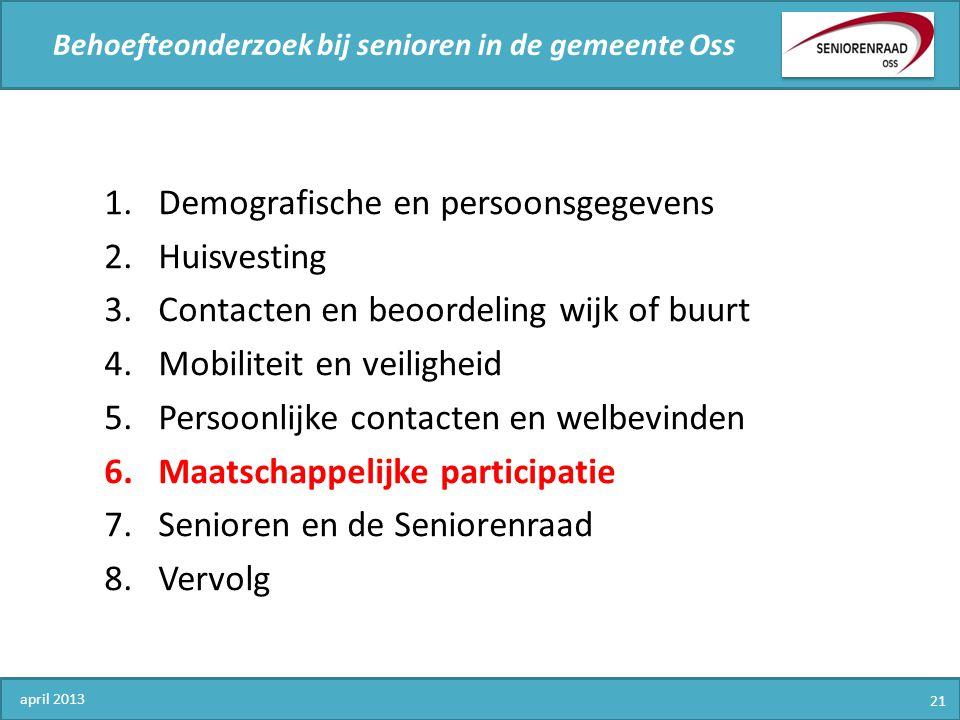 Behoefteonderzoek bij senioren in de gemeente Oss 1.Demografische en persoonsgegevens 2.Huisvesting 3.Contacten en beoordeling wijk of buurt 4.Mobilit