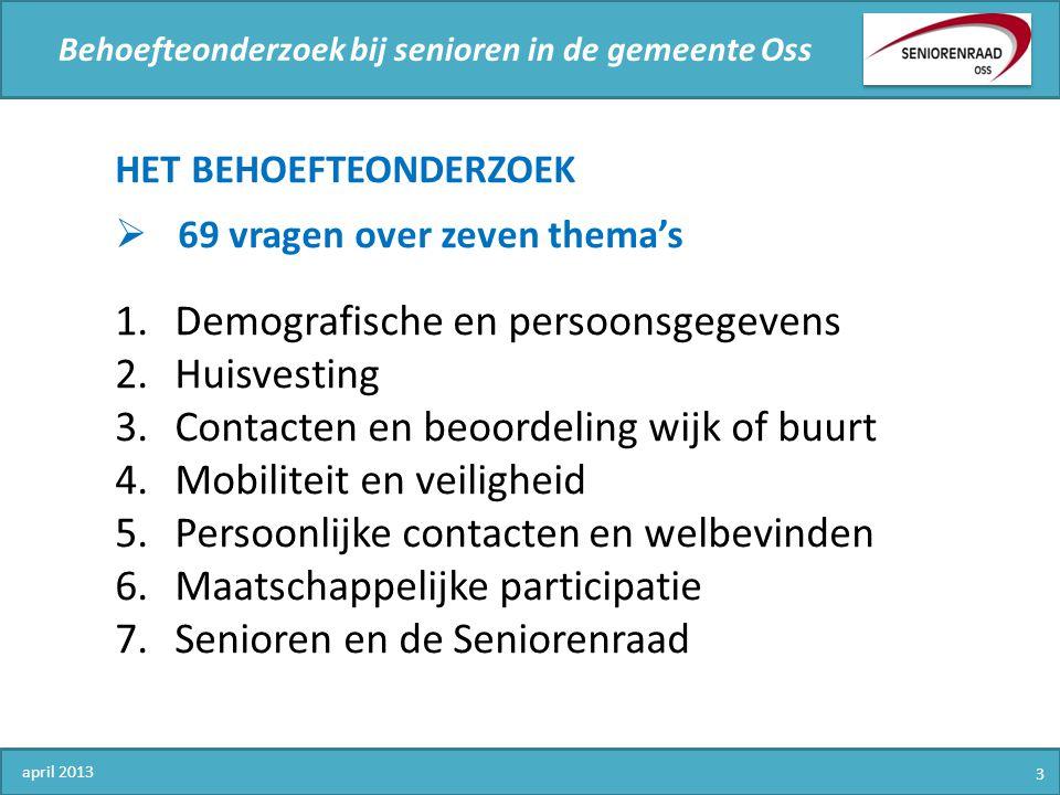 Behoefteonderzoek bij senioren in de gemeente Oss HET BEHOEFTEONDERZOEK  69 vragen over zeven thema's 1.Demografische en persoonsgegevens 2.Huisvesti