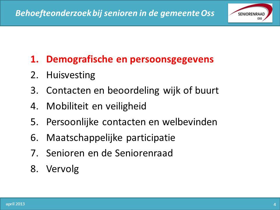 Behoefteonderzoek bij senioren in de gemeente Oss april 2013 5 1.