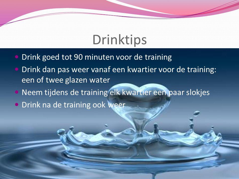 Drinktips Drink goed tot 90 minuten voor de training Drink dan pas weer vanaf een kwartier voor de training: een of twee glazen water Neem tijdens de