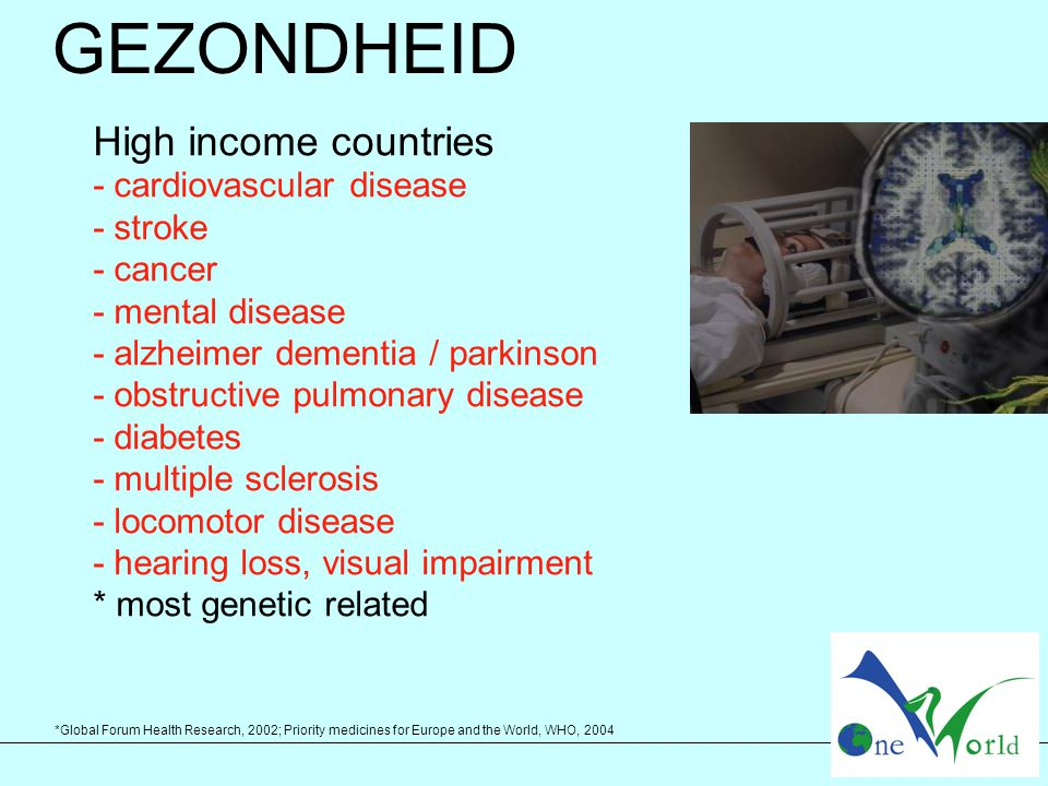 *Global Forum Health Research, 2002; Priority medicines for Europe and the World, WHO, 2004 GEZONDHEID High income countries - cardiovascular disease - stroke - cancer - mental disease - alzheimer dementia / parkinson - obstructive pulmonary disease - diabetes - multiple sclerosis - locomotor disease - hearing loss, visual impairment * most genetic related