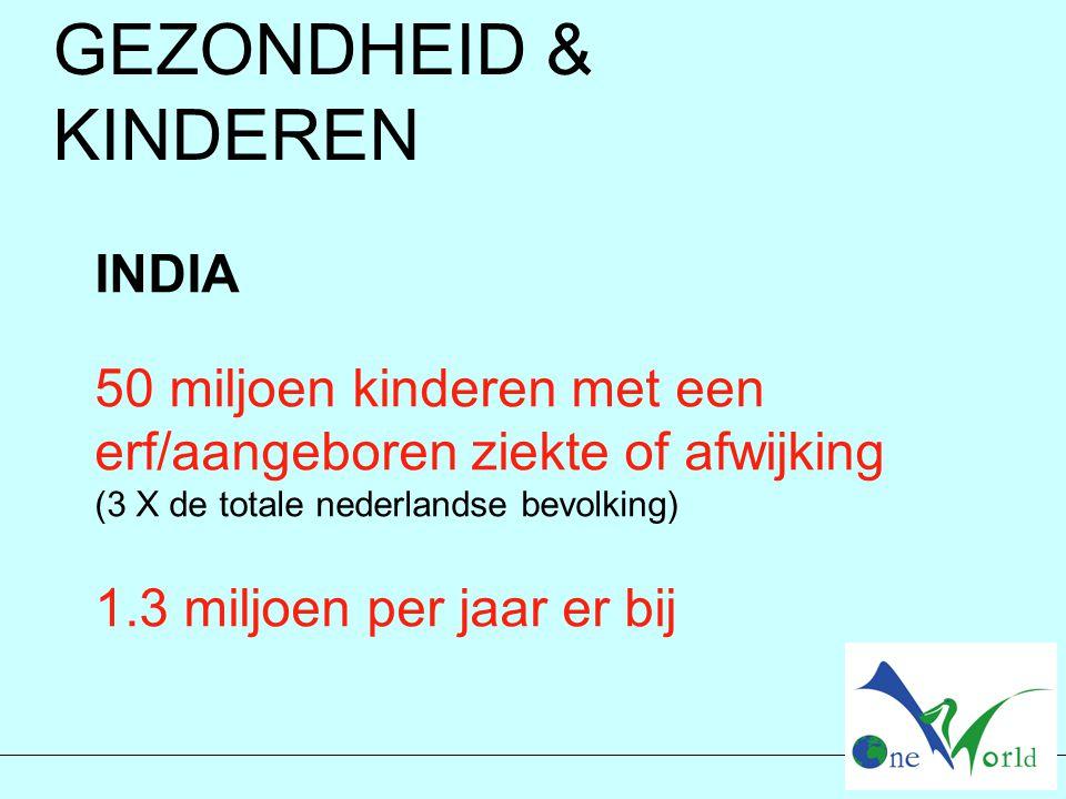 GEZONDHEID & KINDEREN INDIA 50 miljoen kinderen met een erf/aangeboren ziekte of afwijking (3 X de totale nederlandse bevolking) 1.3 miljoen per jaar er bij