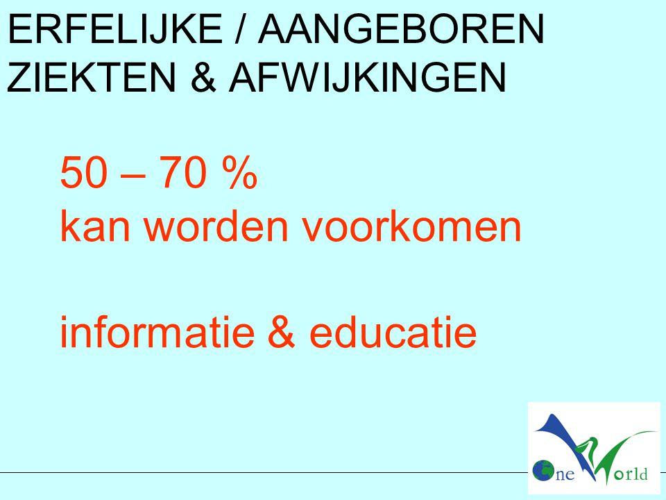 50 – 70 % kan worden voorkomen informatie & educatie ERFELIJKE / AANGEBOREN ZIEKTEN & AFWIJKINGEN