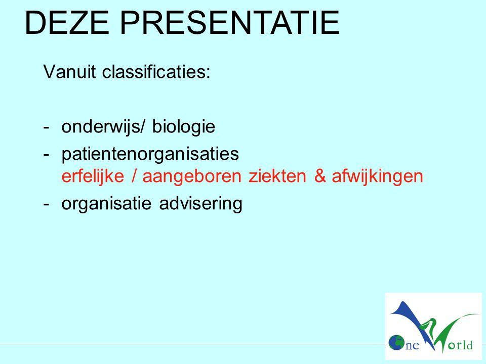 Vanuit classificaties: -onderwijs/ biologie -patientenorganisaties erfelijke / aangeboren ziekten & afwijkingen -organisatie advisering DEZE PRESENTAT