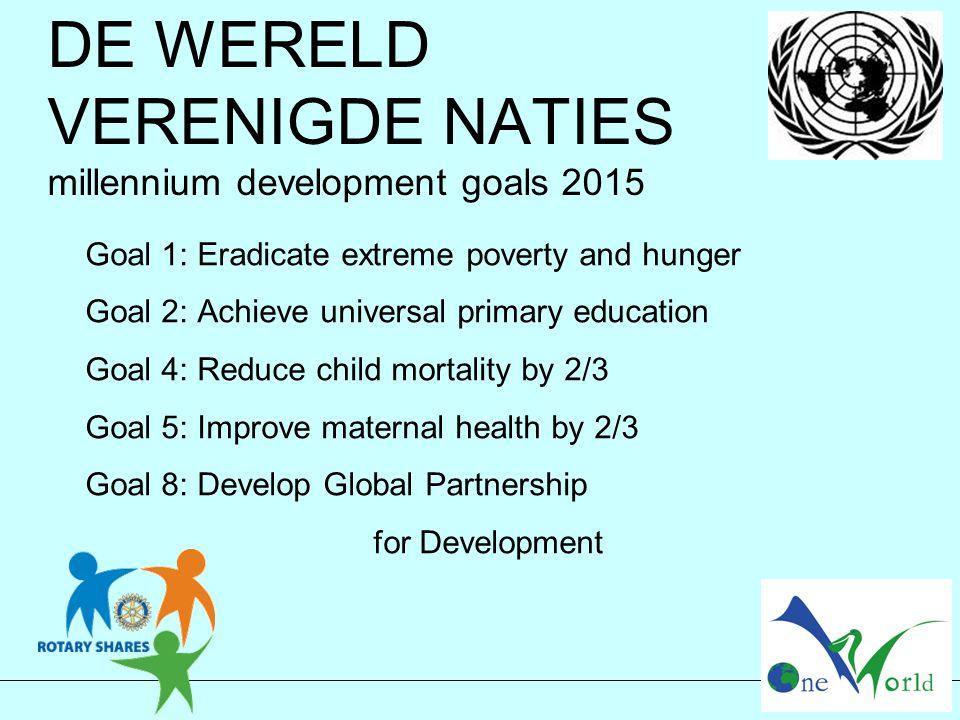 DE WERELD VERENIGDE NATIES millennium development goals 2015 Goal 1: Eradicate extreme poverty and hunger Goal 2: Achieve universal primary education