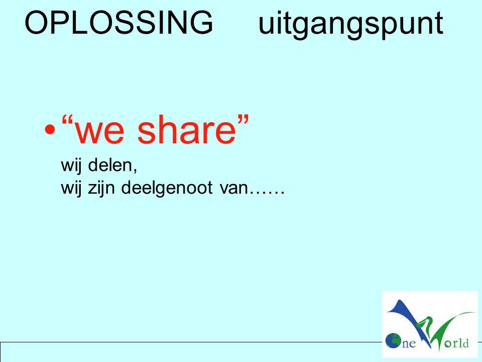 """OPLOSSING uitgangspunt """"we share"""" wij delen, wij zijn deelgenoot van……"""