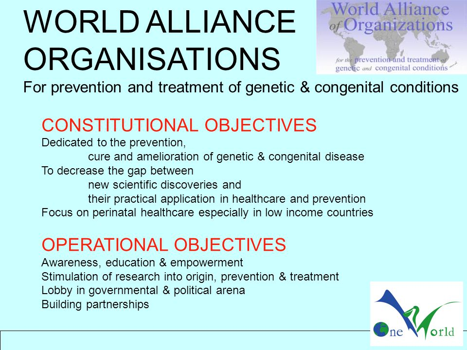 CONSTITUTIONAL OBJECTIVES Dedicated to the prevention, cure and amelioration of genetic & congenital disease To decrease the gap between new scientific discoveries and their practical application in healthcare and prevention Focus on perinatal healthcare especially in low income countries OPERATIONAL OBJECTIVES Awareness, education & empowerment Stimulation of research into origin, prevention & treatment Lobby in governmental & political arena Building partnerships WORLD ALLIANCE ORGANISATIONS For prevention and treatment of genetic & congenital conditions