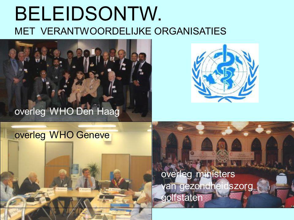 overleg WHO Den Haag overleg WHO Geneve BELEIDSONTW. MET VERANTWOORDELIJKE ORGANISATIES overleg ministers van gezondheidszorg golfstaten